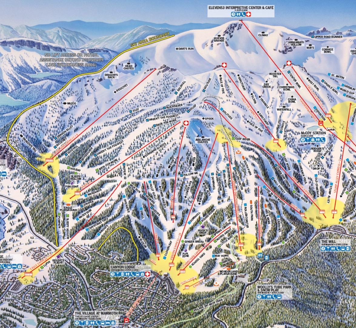 California Ski Maps Mammoth Mountain Ski Resort Trail Map - Mammoth mountain trail map