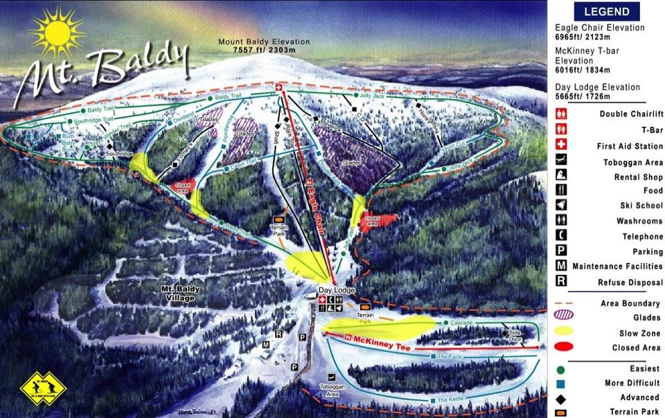 Skiing In California Map.California Ski Maps Mt Baldy Ski Resort Trail Map