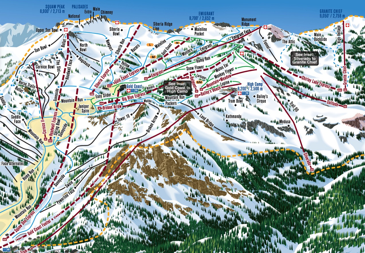 california ski maps  squaw valley ski resort trail map - squaw valley vertical drop   ft